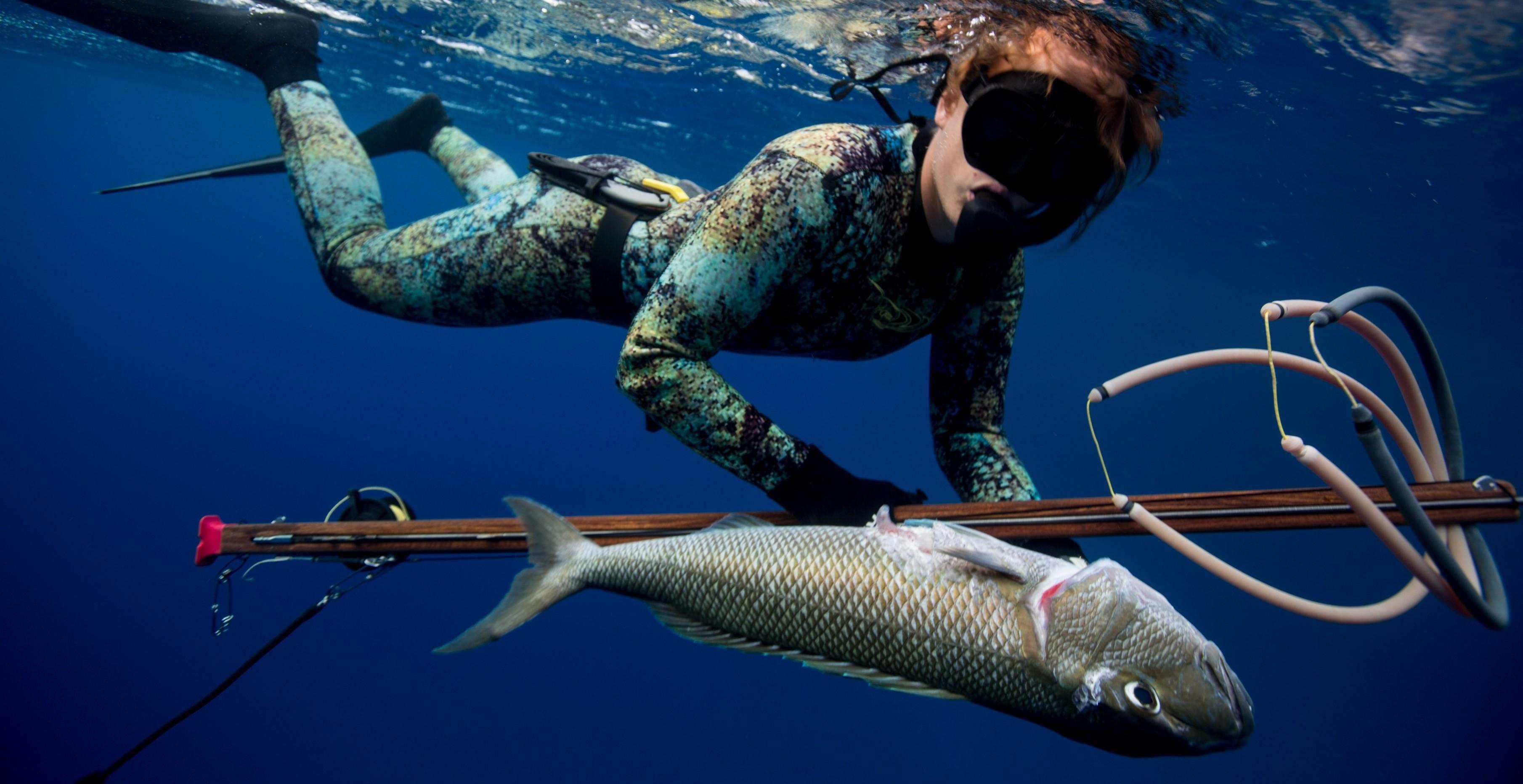 Spearfishing, like a girl.